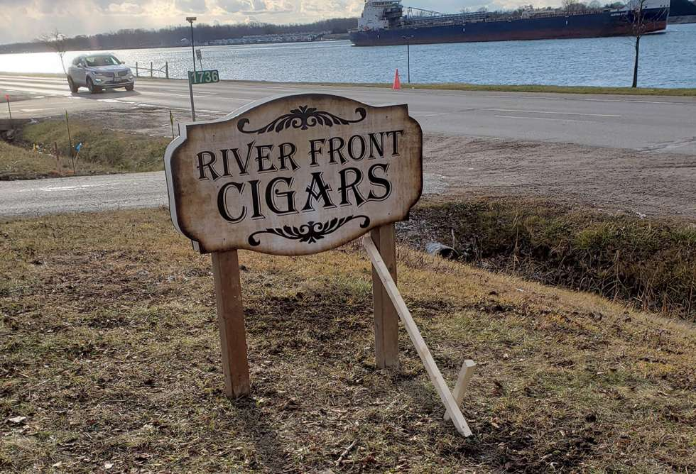 River Front Cigars Lawn Sign - Design and Install by Why Design