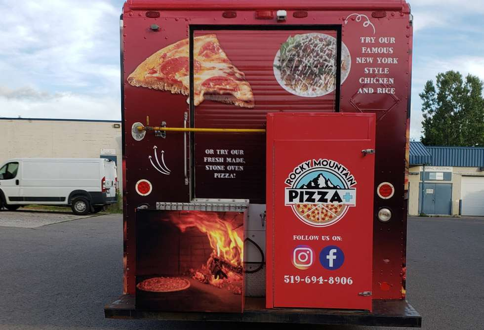 Rocky Mountain Pizza+ Food Truck Wrap - Design and Installation by Why Design - back view