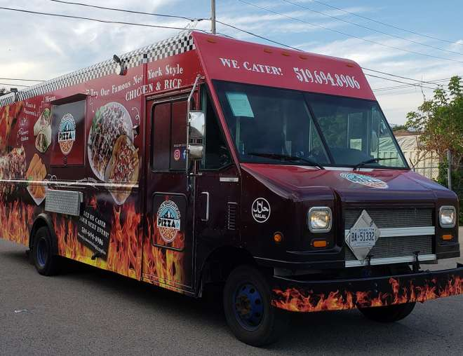 Rocky Mountain Pizza+ Food Truck Wrap - Design and Installation by Why Design - front & side view