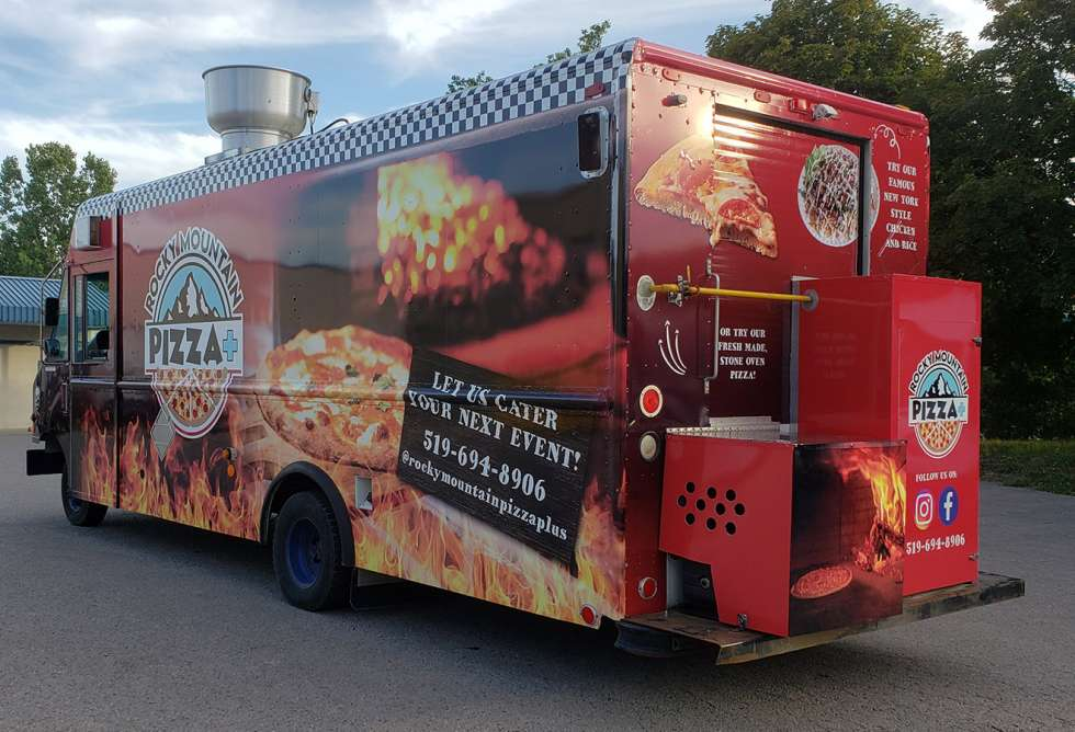Rocky Mountain Pizza+ Food Truck Wrap - Design and Installation by Why Design -back & side view