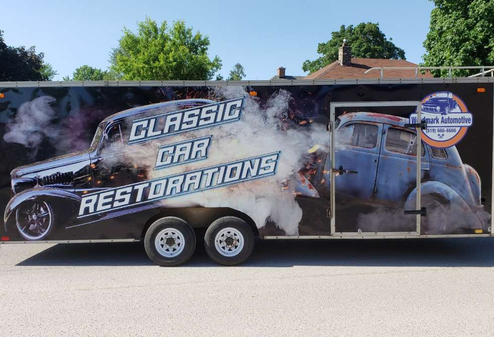 Weedmark Automotive Racing Trailer Design and Installation by Why Design - Side View