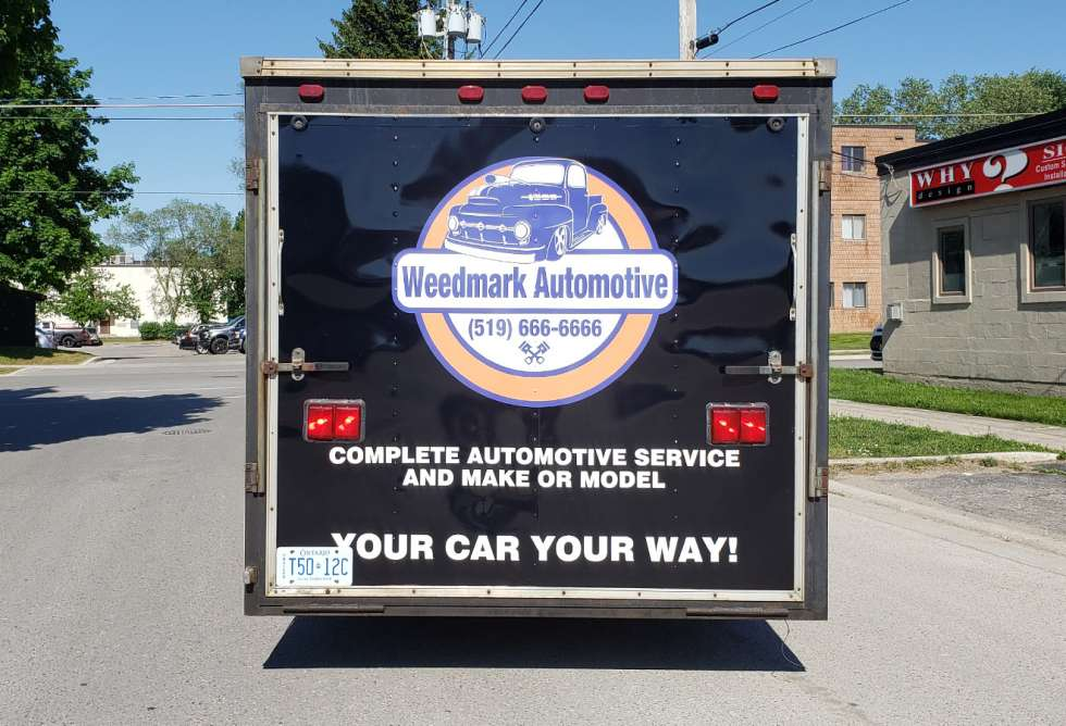 Weedmark Automotive Racing Trailer Design and Installation by Why Design - Back View