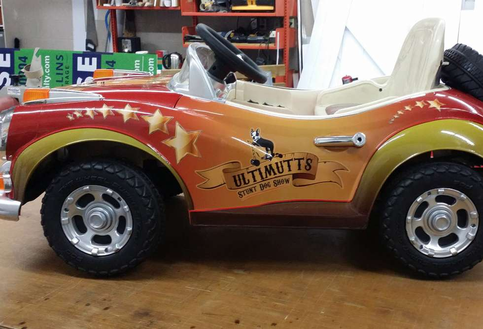 """Ultimutts Stunt Dog Show Vehicle Graphics for """"little car"""" by Why Design"""