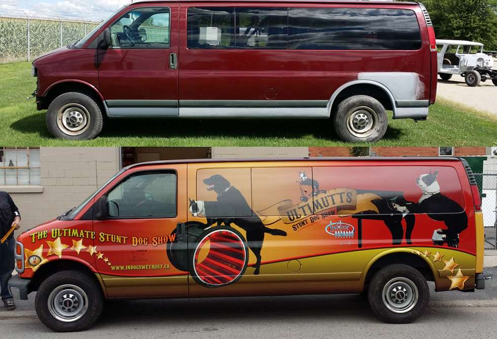 Ultimutts Stunt Dog Show Van Wrap - Design and Install by Why Design - Before & After