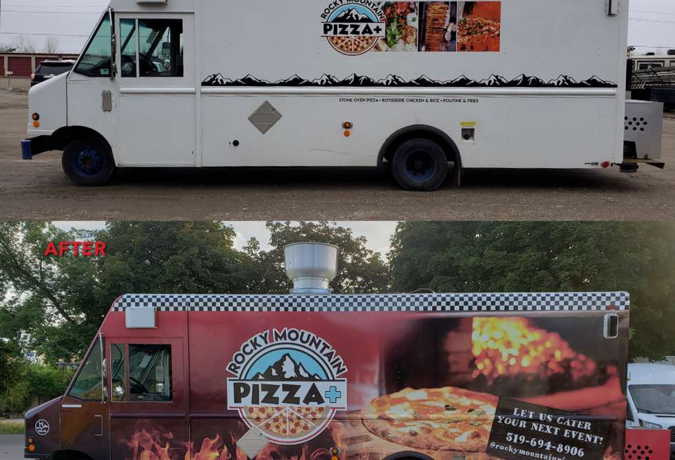 Rocky Mountain Pizza+ Food Truck Wrap - Design and Installation by Why Design - before & after